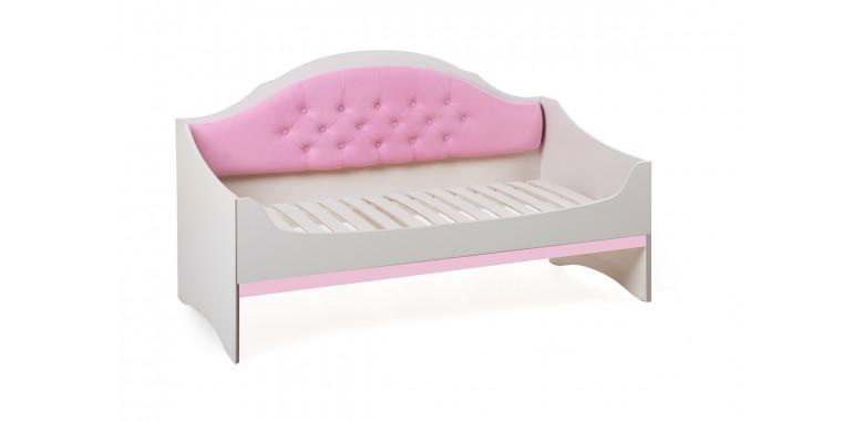 Детский диван-кровать Valencia с каретной стяжкой розовый кварц