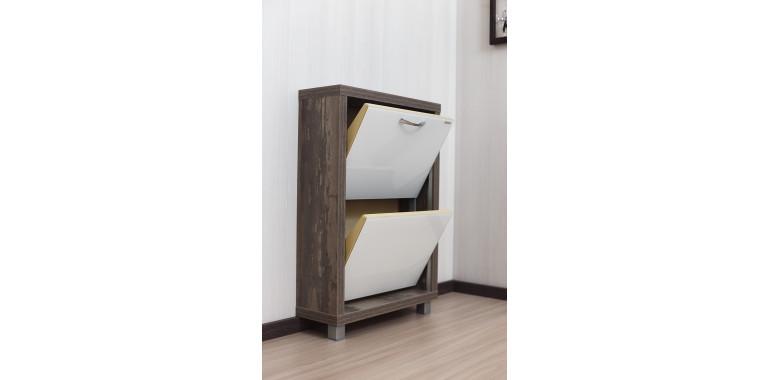Обувница «Люкс» стекло белое 2-х секционная руанда