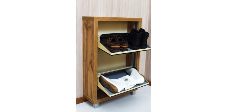 Обувница «Люкс» стекло черное 2-х секционная дуб вотан