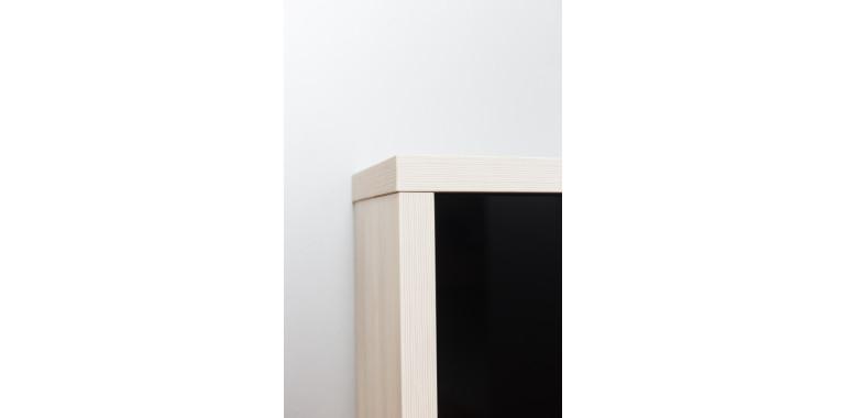 Обувница «Люкс» стекло черное 2-х секционная выбеленное дерево