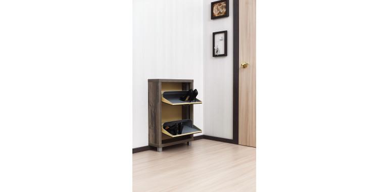 Обувница «Люкс» стекло черное 2-х секционная руанда