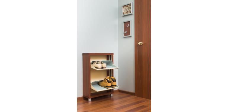 Обувница «Люкс» стекло капучино 2-х секционная вишня