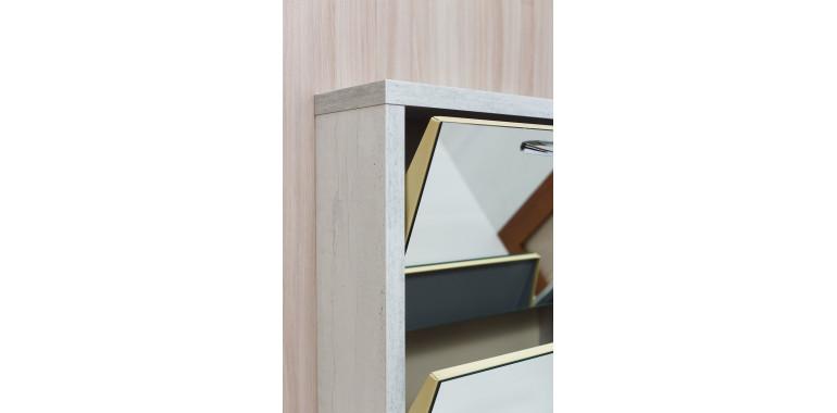 Обувница «Люкс» зеркало 2-х секционная бетон пайн