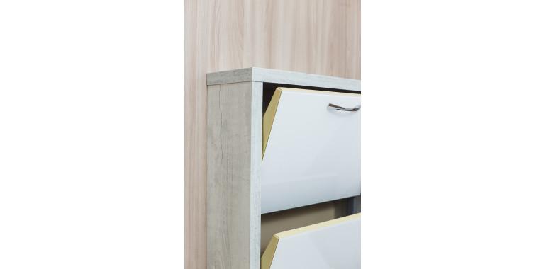 Обувница «Люкс» стекло белое 3-х секционная бетон пайн