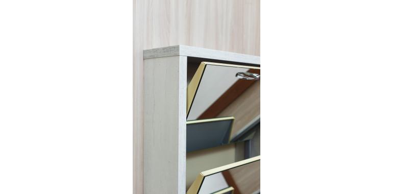 Обувница «Люкс» зеркало 3-х секционная бетон пайн