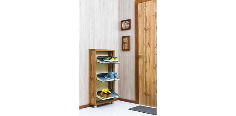 Обувница «Люкс» зеркало 3-х секционная дуб вотан