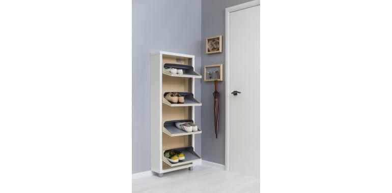 Обувница «Люкс» ЛДСП 4-х секционная белый шагрень