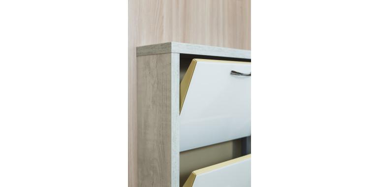 Обувница «Люкс» стекло белое 4-х секционная бетон пайн