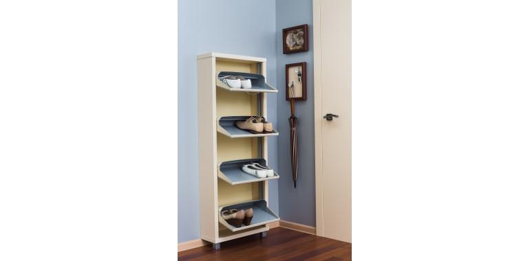 Обувница «Люкс» стекло белое 4-х секционная кремовая