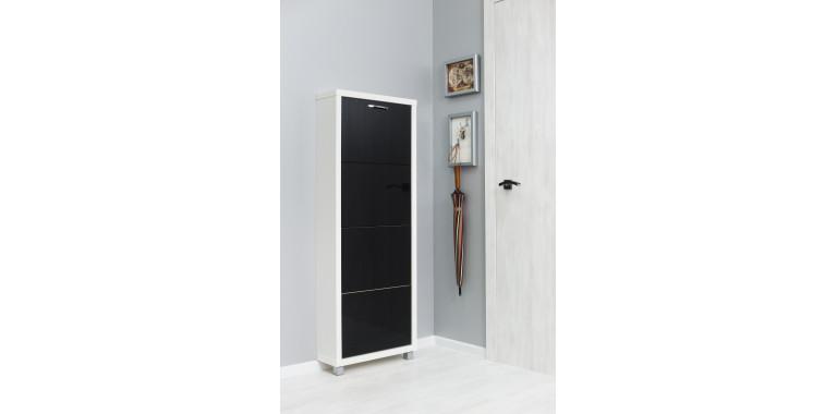 Обувница «Люкс» стекло чёрное 4-х секционная белый шагрень