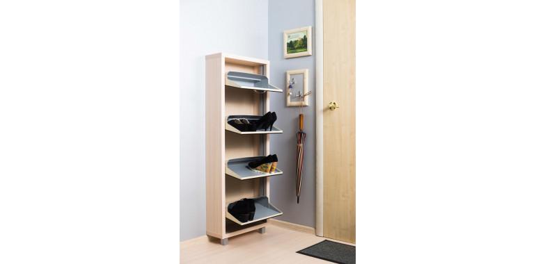 Обувница «Люкс» стекло чёрное 4-х секционная дуб молочный