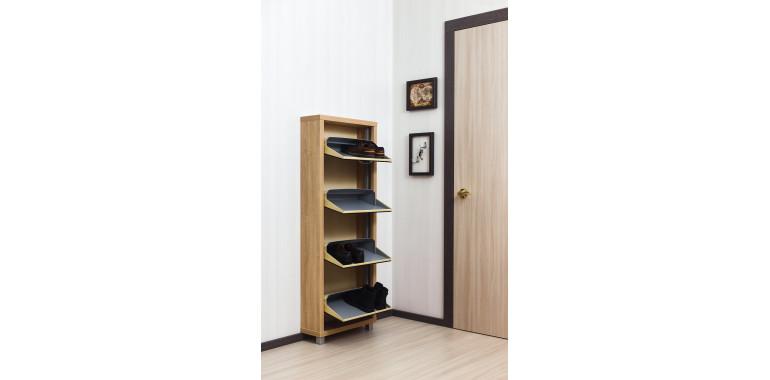 Обувница «Люкс» стекло чёрное 4-х секционная дуб сонома