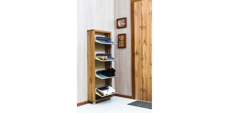 Обувница «Люкс» стекло чёрное 4-х секционная дуб вотан