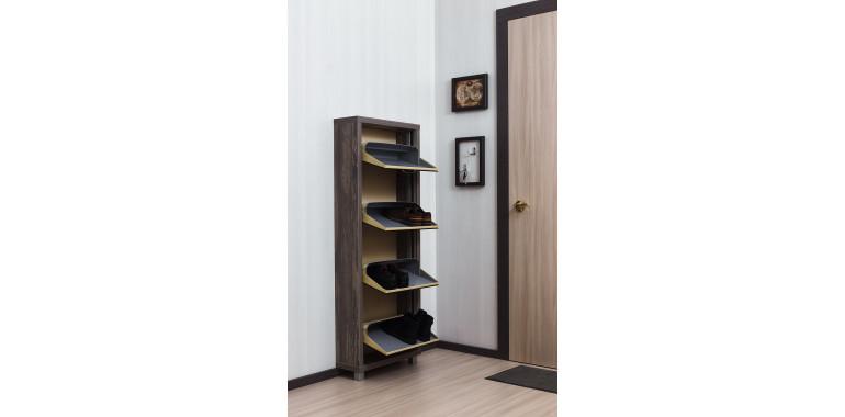 Обувница «Люкс» стекло чёрное 4-х секционная руанда