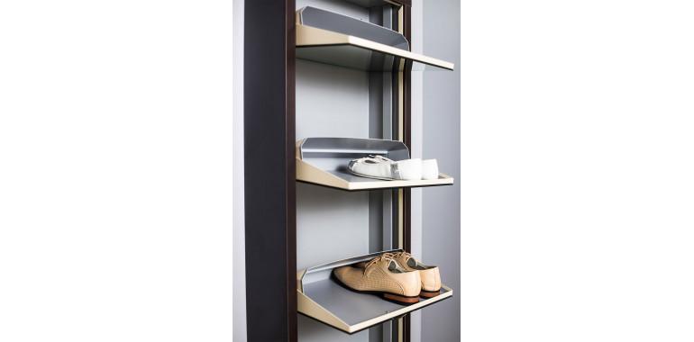 Обувница «Люкс» стекло чёрное 4-х секционная венге