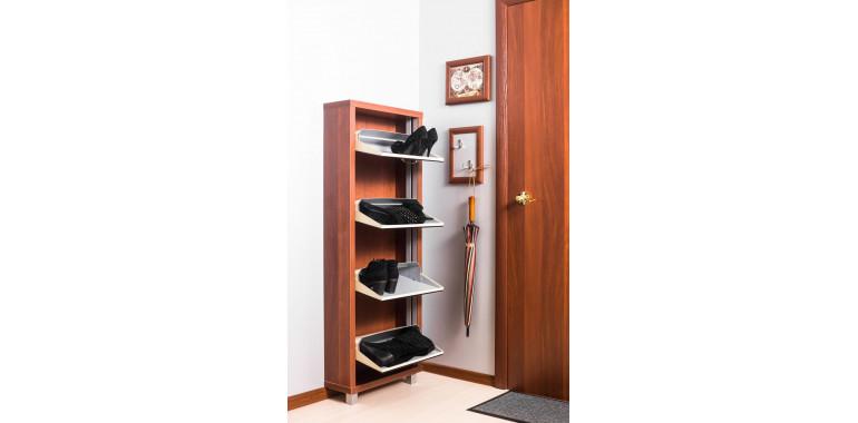 Обувница «Люкс» стекло чёрное 4-х секционная вишня