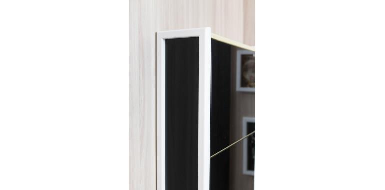 Обувница «Комфорт» стекло черное 5-ти секционная белая