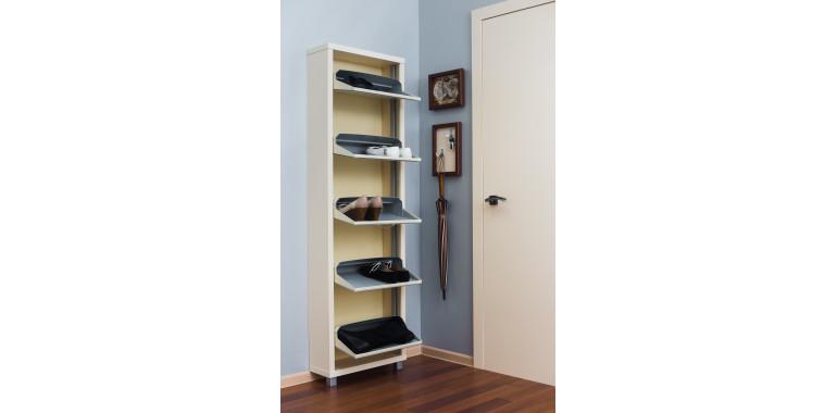 Обувница «Люкс» стекло белое 5-ти секционная кремовая