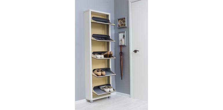 Обувница «Люкс» зеркало 5-ти секционная белый шагрень