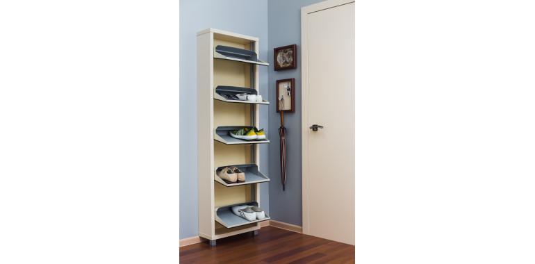 Обувница «Люкс» зеркало 5-ти секционная кремовая