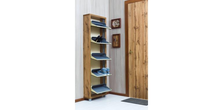 Обувница «Люкс» зеркало 5-ти секционная дуб вотан
