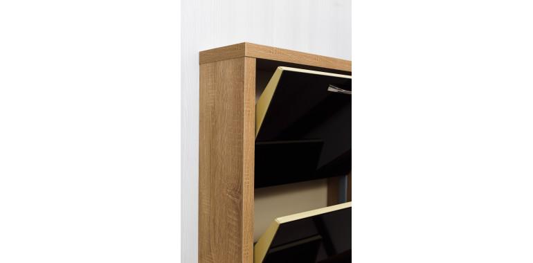 Обувница «Люкс» стекло черное 3-х секционная дуб сонома