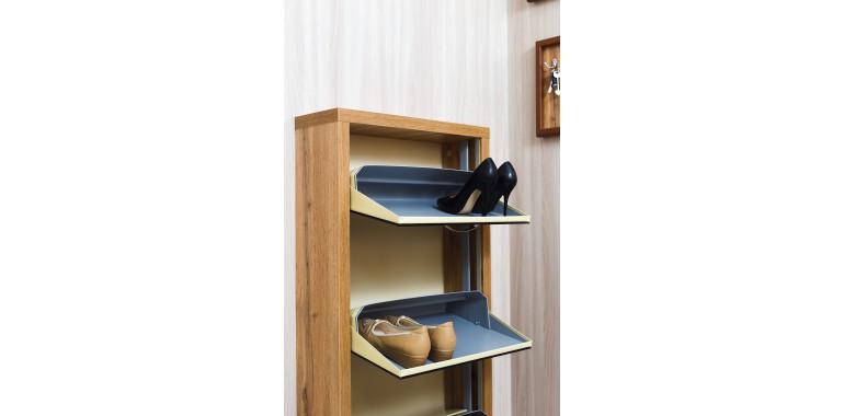 Обувница «Люкс» стекло черное 3-х секционная дуб вотан