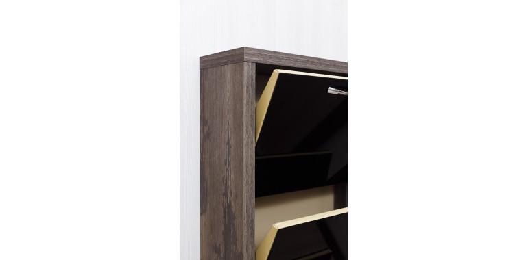 Обувница «Люкс» стекло черное 3-х секционная руанда