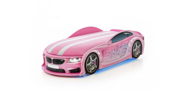 Кровать-машина «БМВ-М» розовая