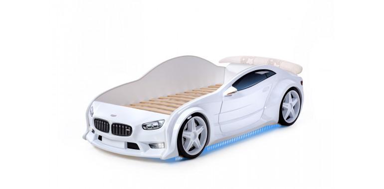 Кровать-машинка объемная EVO белая