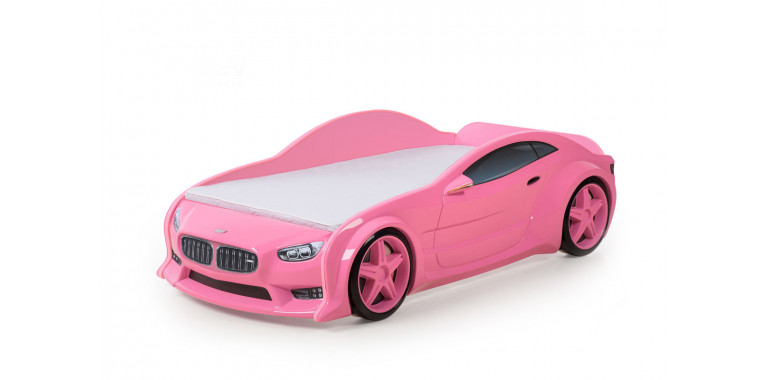 Кровать-машинка объемная EVO «БМВ» розовая