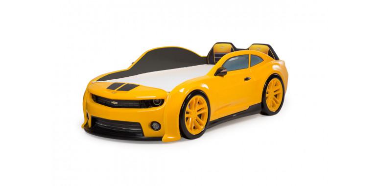 Кровать-машинка объемная EVO «Camaro» желтая