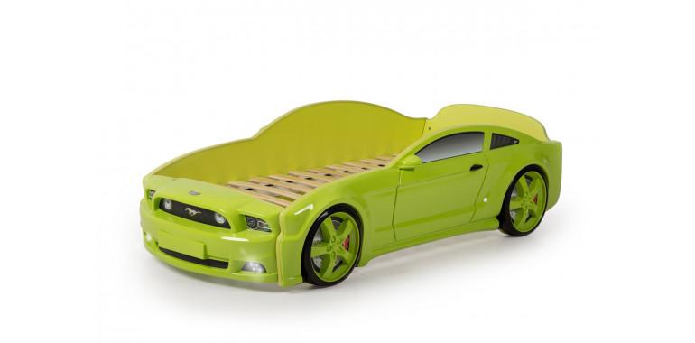 Кровать-машина объемная «Мустанг» 3D зеленая
