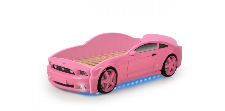 Кровать-машина объемная «Мустанг» 3D розовая