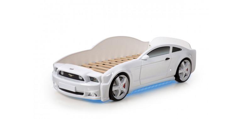 Кровать-машина объемная «Мустанг» 3D белая