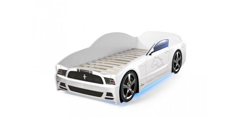 Кровать-машина «Мустанг» белая