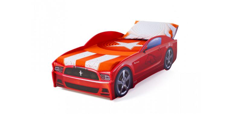 Кровать-машина «Мустанг» красная