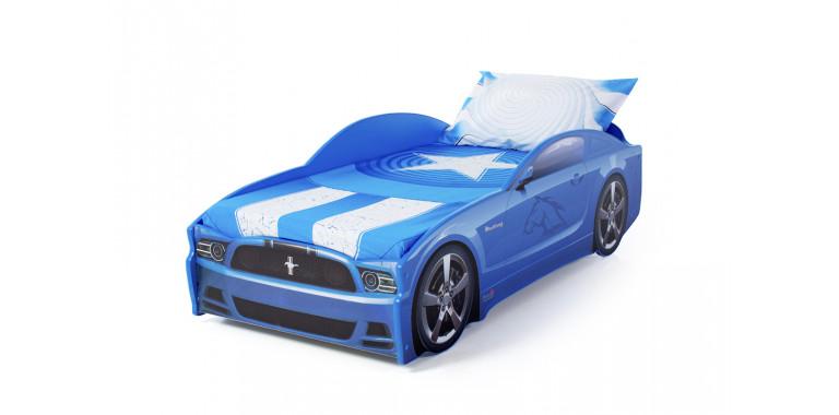 Кровать-машина «Мустанг» синяя