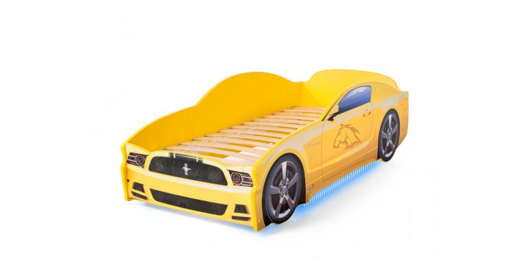 Кровать-машина «Мустанг» желтая