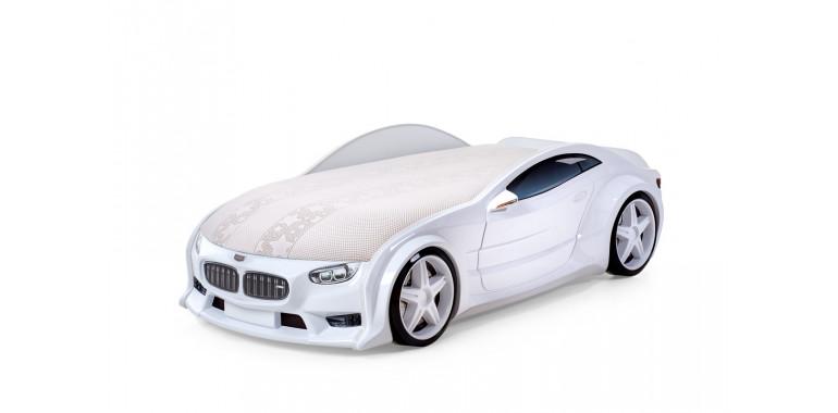 Кровать-машина объемная NEO «БМВ» белая