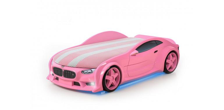 Кровать-машина объемная NEO «БМВ» розовая