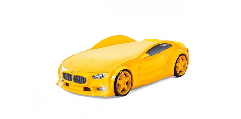 Кровать-машина объемная NEO «БМВ» желтая