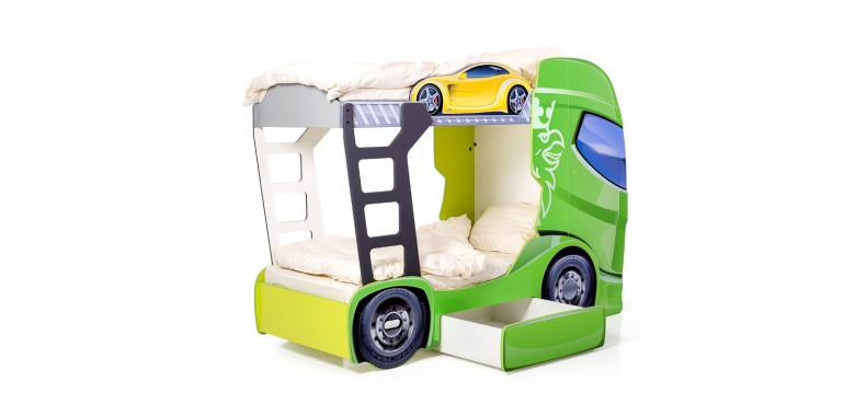 Двухъярусная кровать «Скания+2» зеленая