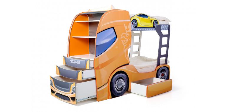 Двухъярусная кровать «Скания+2» оранжевая