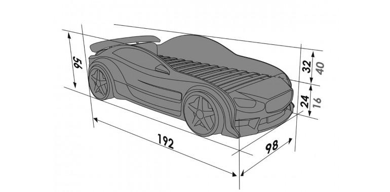 Кровать-машинка объемная EVO «Мерседес» графит