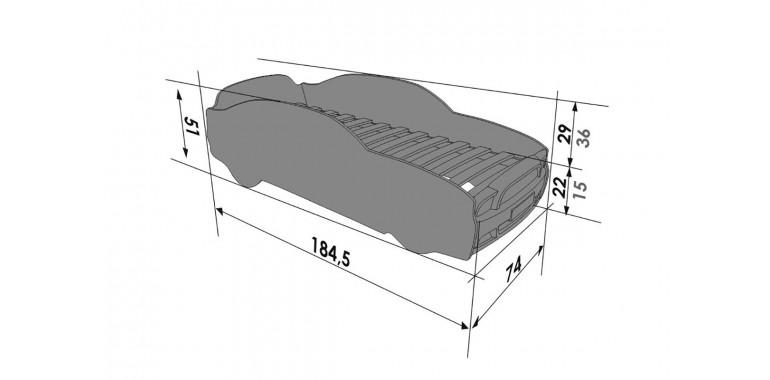 Кровать-машина «Мустанг» PLUS красная