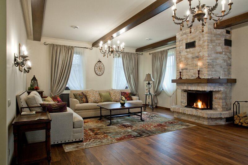 Мебель в дизайне гостиной частного дома