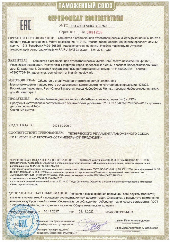 Сертификат на продукцию 31