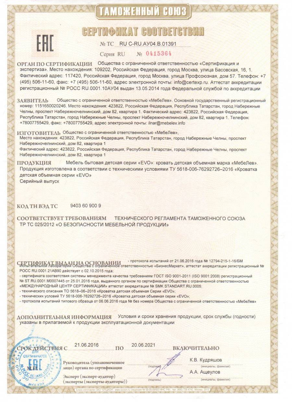 Сертификат на продукцию 35